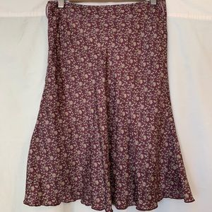 Dresses & Skirts - Made In France Silk Flower Pattern Purple Skirt Sm